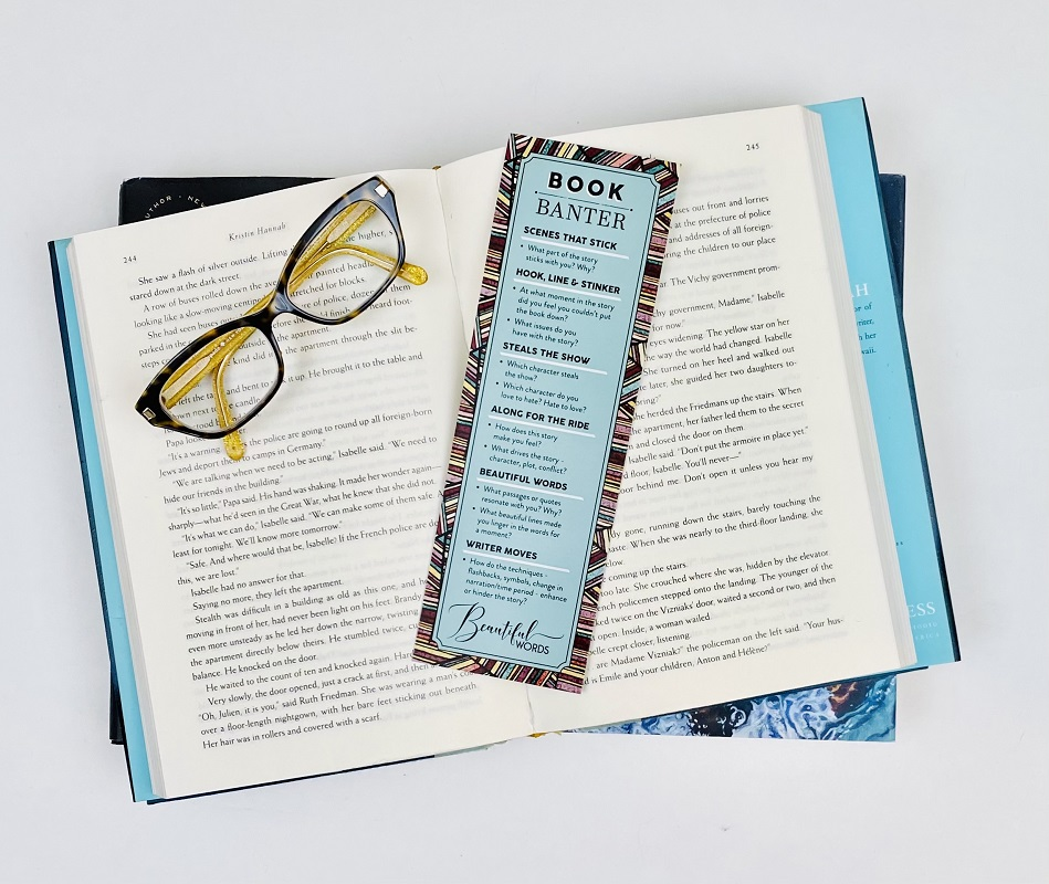 Book Banter bookmark with glasses- Top 10 questions to bring Book club