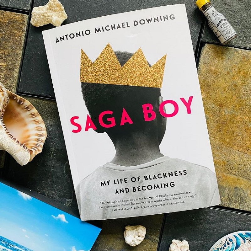 """""""flat lay of Saga Boy book surrounded by seashells, a coaster, a print of the sea and a mini Angostura bitters bottle"""