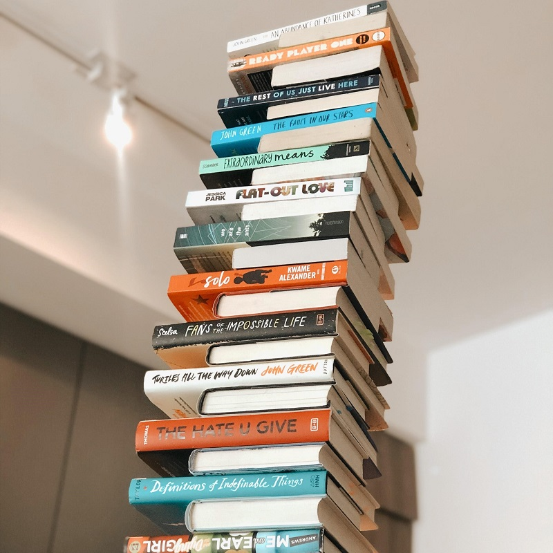 An image of a tall book stack, including The Hate U Give and Flat-Out Love.