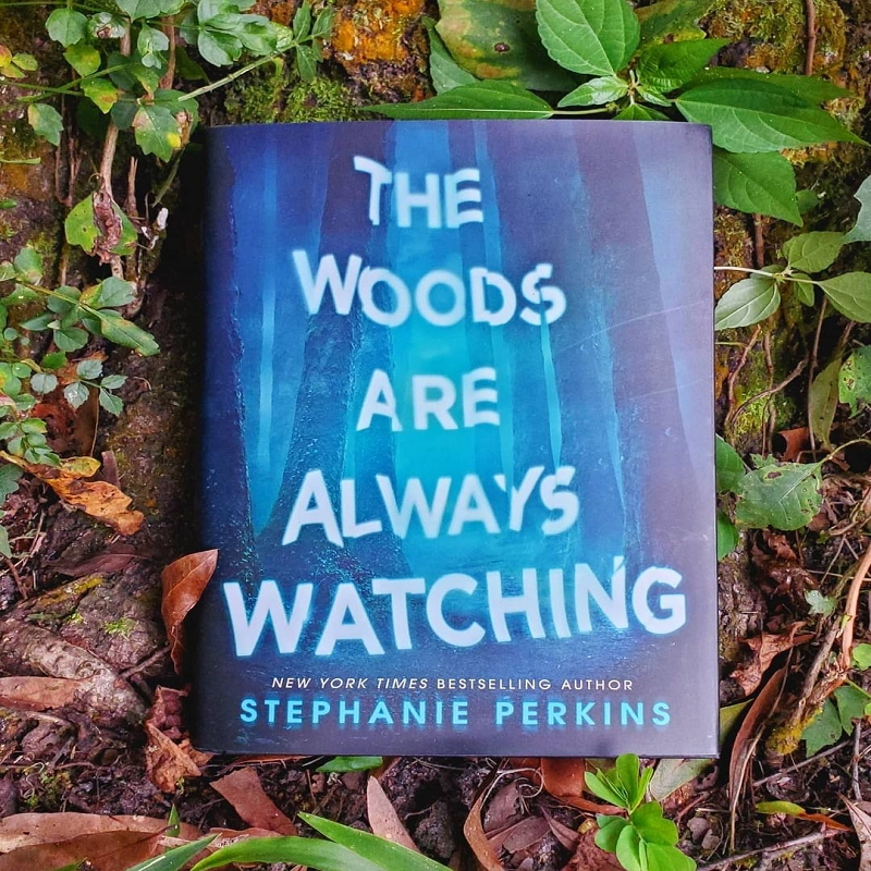 A copy of The Woods Are Always Watching laying on the mossy ground in the woods which is covered in leaves, some green and some dried brown